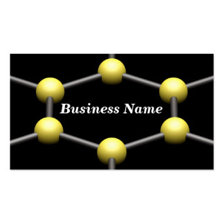 Closeup of a 3D Molecular Structure Yellow Business Card