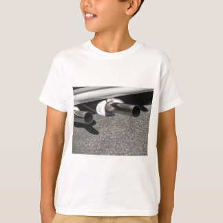 Closeup of a classic car exhaust pipe  Double pipe T-Shirt