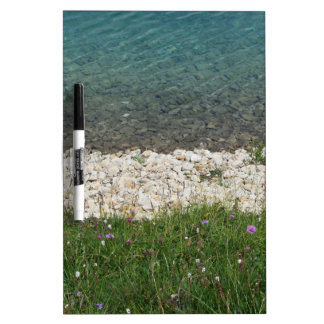 Closeup of a crystal clear alpine lake dry erase white board