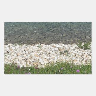 Closeup of a crystal clear alpine lake rectangular sticker