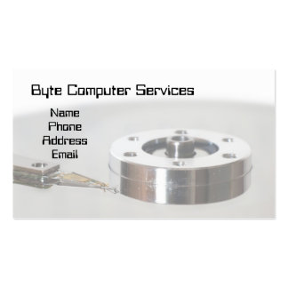 Closeup of a Hard Disk Platter and Read and Write Pack Of Standard Business Cards