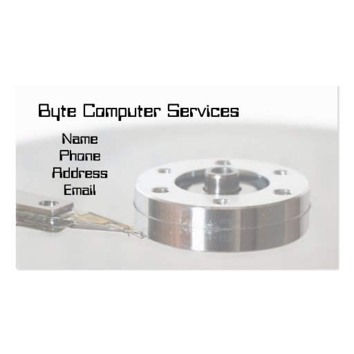 Closeup of a Hard Disk Platter and Read and Write Business Card