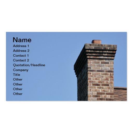 closeup of a modern brick chimney business card templates