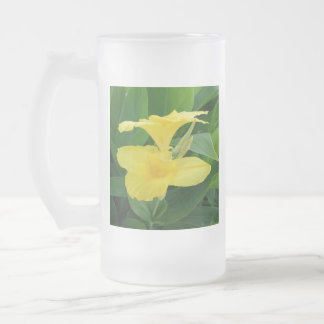 Closeup Of A Tropical Yellow Canna Lily Frosted Glass Beer Mug
