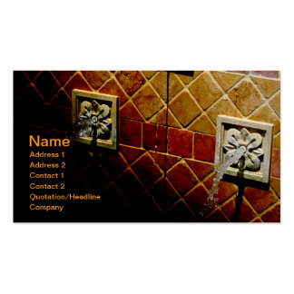 closeup of an outdoor tiled water fountain business card templates