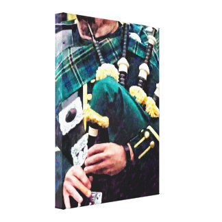 Closeup of Bagpiper Canvas Print
