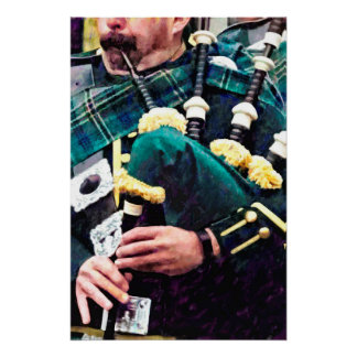 Closeup of Bagpiper Poster