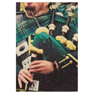 Closeup of Bagpiper Wood Poster