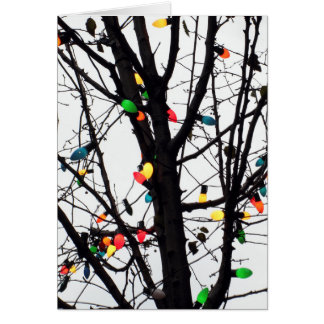 Closeup of colorful Christmas lights on branches Greeting Card