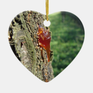 Closeup of pear tree excretion of gummy resin ceramic heart decoration