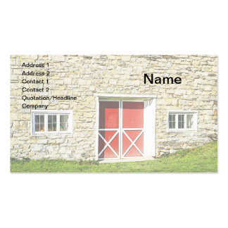 closeup of red and white barn doors business cards