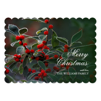 Closeup of red Holly berries with frost. 13 Cm X 18 Cm Invitation Card