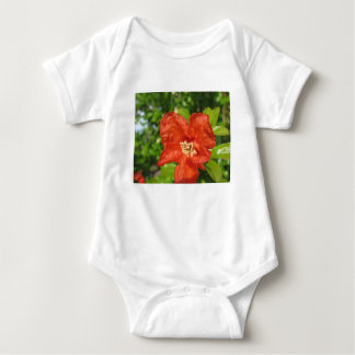 Closeup of red pomegranate flower baby bodysuit