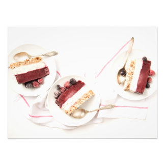Closeup of Three Plates of Frozen Vegan Layer Cake Photo Print