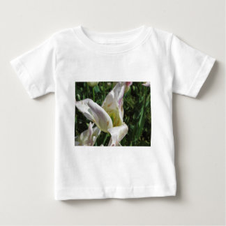 Closeup of white iris flower with droplets baby T-Shirt