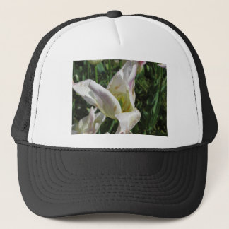 Closeup of white iris flower with droplets trucker hat