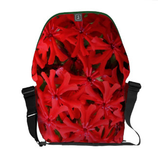 Closeup Red Flowers Messenger Bags