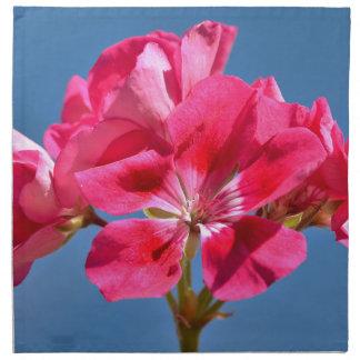 Closeup red geranium printed napkins