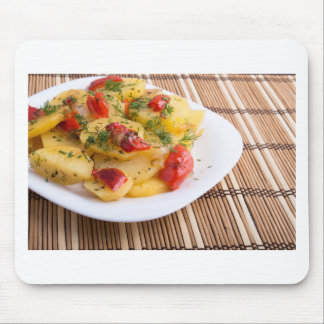 Closeup view on slices of potato stew mouse pad