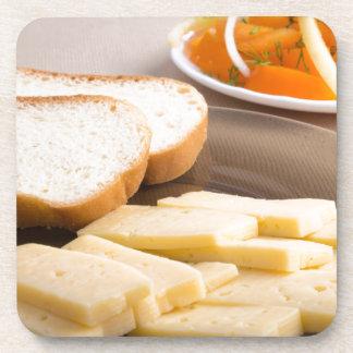 Closeup view on snacks for veggie coaster