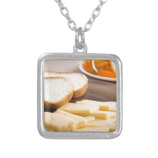 Closeup view on snacks for veggie silver plated necklace