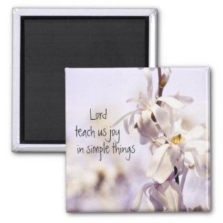 Closeup White Dogwood blossom art photo Square Magnet