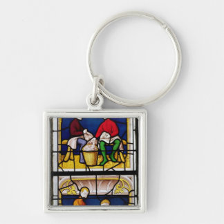 Cloth Merchant's Window Silver-Colored Square Key Ring