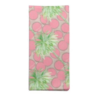 Cloth Napkin Set- Pink Polka Dot Palm Tree