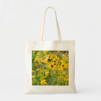 Cloth shopping bag with yellow flowers