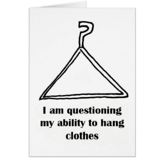 clothes hanger question mark funny card