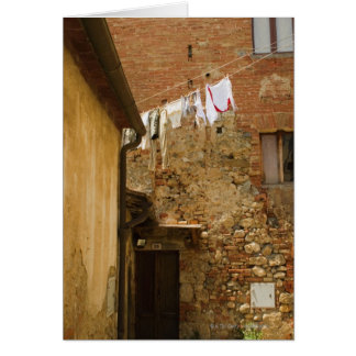 Clothes hanging to dry on a clothesline, card