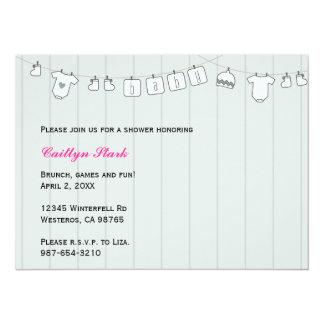 Clothes Line Baby Shower Customize 14 Cm X 19 Cm Invitation Card