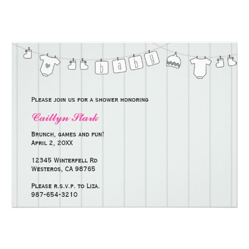 Clothes Line Baby Shower Customize Announcement