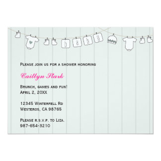 "Clothes Line Baby Shower Customize 5.5"" X 7.5"" Invitation Card"