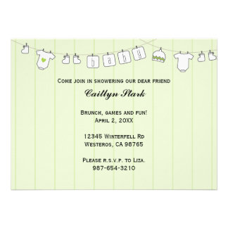Clothes Line Baby Shower Customize Custom Announcements