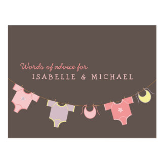Clothesline Baby Shower Advice Card Pink | Lilac Postcard