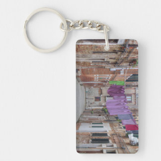 Clothesline In Venice Italy Double-Sided Rectangular Acrylic Key Ring