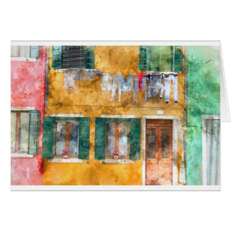 Clothesline on a Building in Burano Italy Card