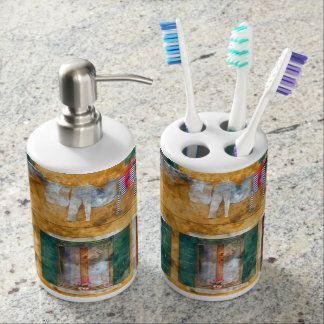 Clothesline on a Building in Burano Italy Soap Dispensers