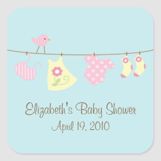 Clotheslines Baby Girl Baby Shower Sticker