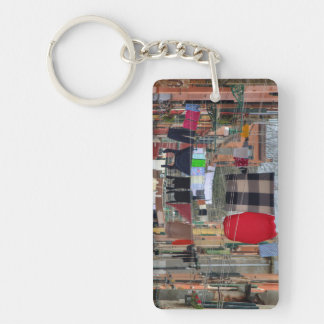 Clotheslines In Venice Italy Double-Sided Rectangular Acrylic Key Ring