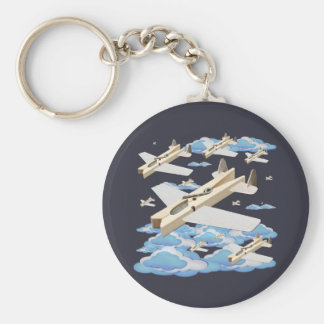 Clothespin Airplanes Basic Round Button Key Ring