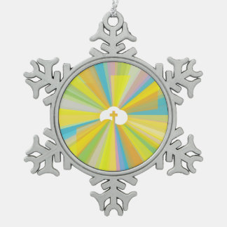 Cloud and Cross with Colourful Light Rays Snowflake Pewter Christmas Ornament