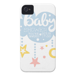 Cloud And Stars Baby Shower Invitation Design Temp Case-Mate iPhone 4 Case