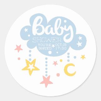Cloud And Stars Baby Shower Invitation Design Temp Classic Round Sticker