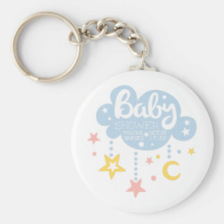 Cloud And Stars Baby Shower Invitation Design Temp Key Ring