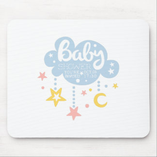 Cloud And Stars Baby Shower Invitation Design Temp Mouse Pad