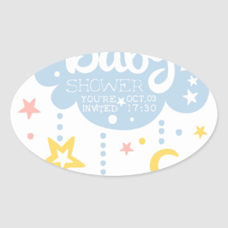 Cloud And Stars Baby Shower Invitation Design Temp Oval Sticker