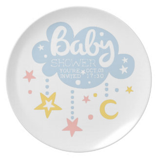 Cloud And Stars Baby Shower Invitation Design Temp Plate