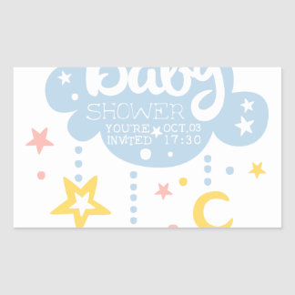 Cloud And Stars Baby Shower Invitation Design Temp Rectangular Sticker